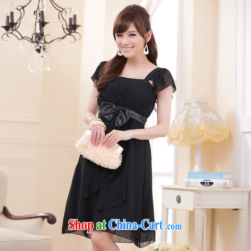 Ultra-sin video thin-waist and elegant Princess sister flouncing cuff dress dresses evening dress black XXXL