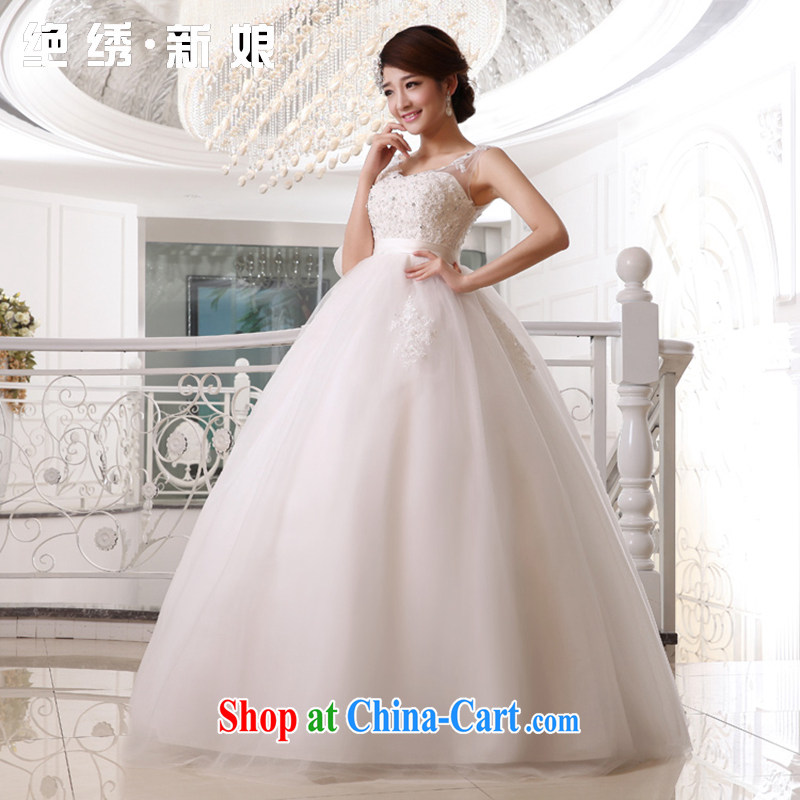 There is embroidery bridal 2015 bridal wedding high-waist wedding dresses double shoulder strap pregnant women with white made final