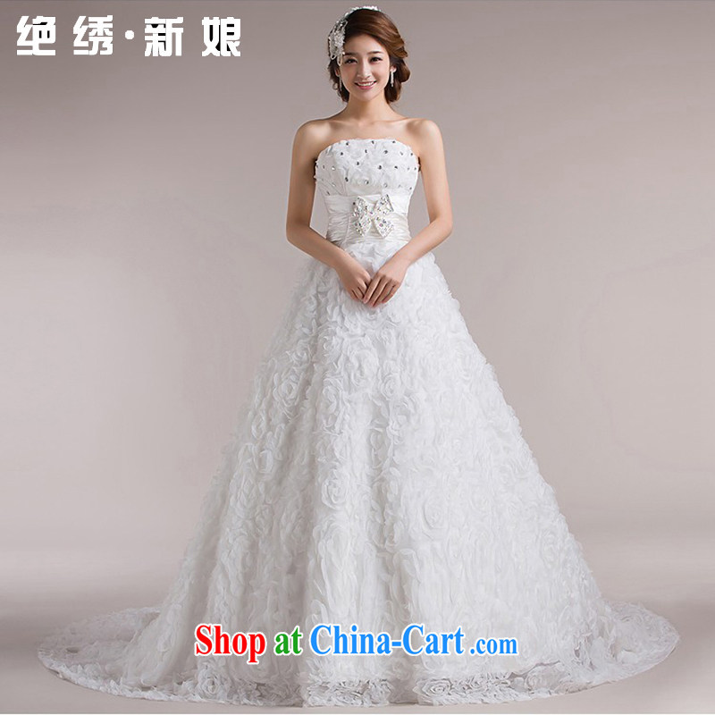 There is embroidery bridal spring 2015 recommended cultivating retro tied with shaggy Korean wedding dresses and tail, white set is not returned.