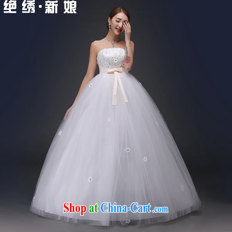 There is embroidery bridal 2015 new Korean pregnant women high-waist bow-tie with bare chest strap sweet Princess wedding White made no refunds or exchanges