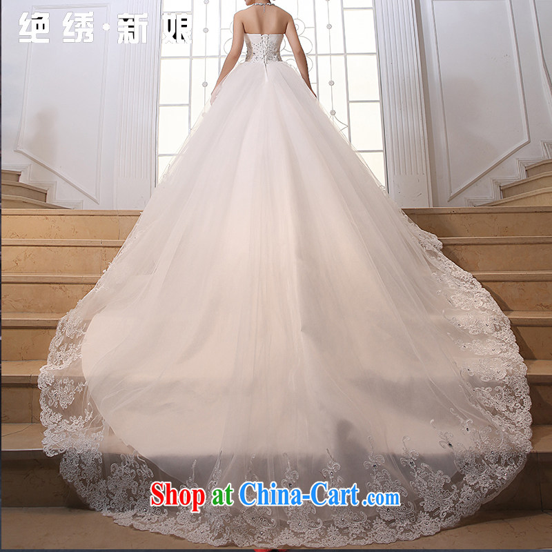 There is embroidery bridal 2015 new lace bare chest Korean version the princess drag and drop tail wedding dresses wedding dresses white-tail made