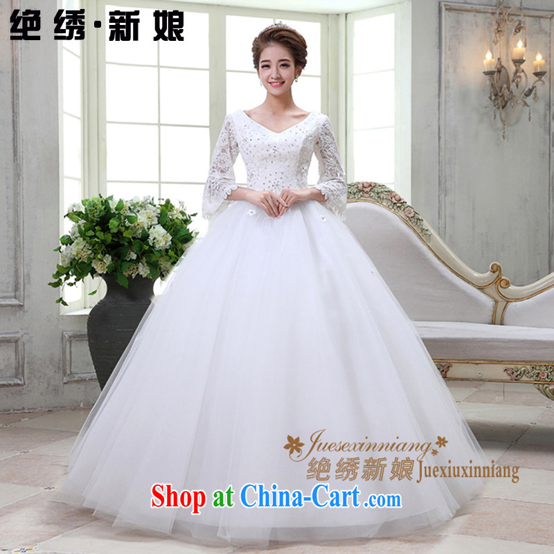 There is embroidery bridal winter long-sleeved lace V for a field shoulder bridal alignment to bind with wedding White made
