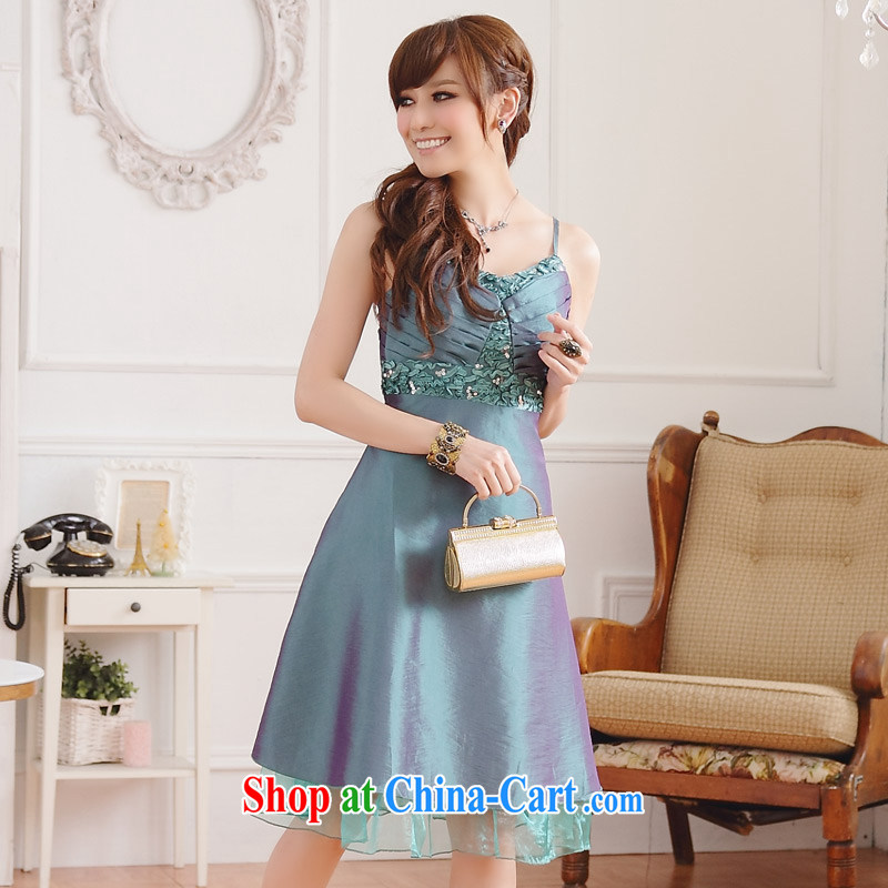 Shallow end (QIAN MO) upscale luxurious beauty chest thin waist V collar straps dress dresses evening dress green XXXL