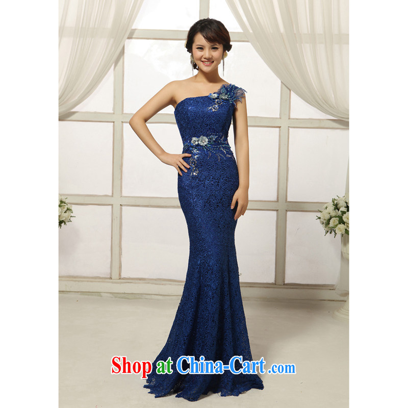 2014 new compact manual take bridal wedding dresses, fashionable single shoulder lace long crowsfoot dress dark blue S