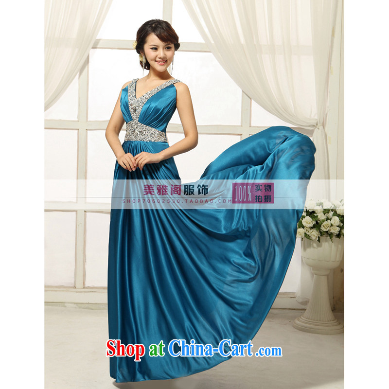2013 new bridal wedding dresses, fashionable long toasting Banquet hosted dance evening dress dark blue XXXL