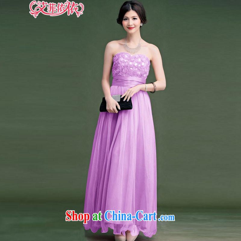 The parting, long the waist bare chest shaggy dress skirt 2015 Korean wedding banquet bridal wedding chair bows wrapped chest dress 4812 light purple XL