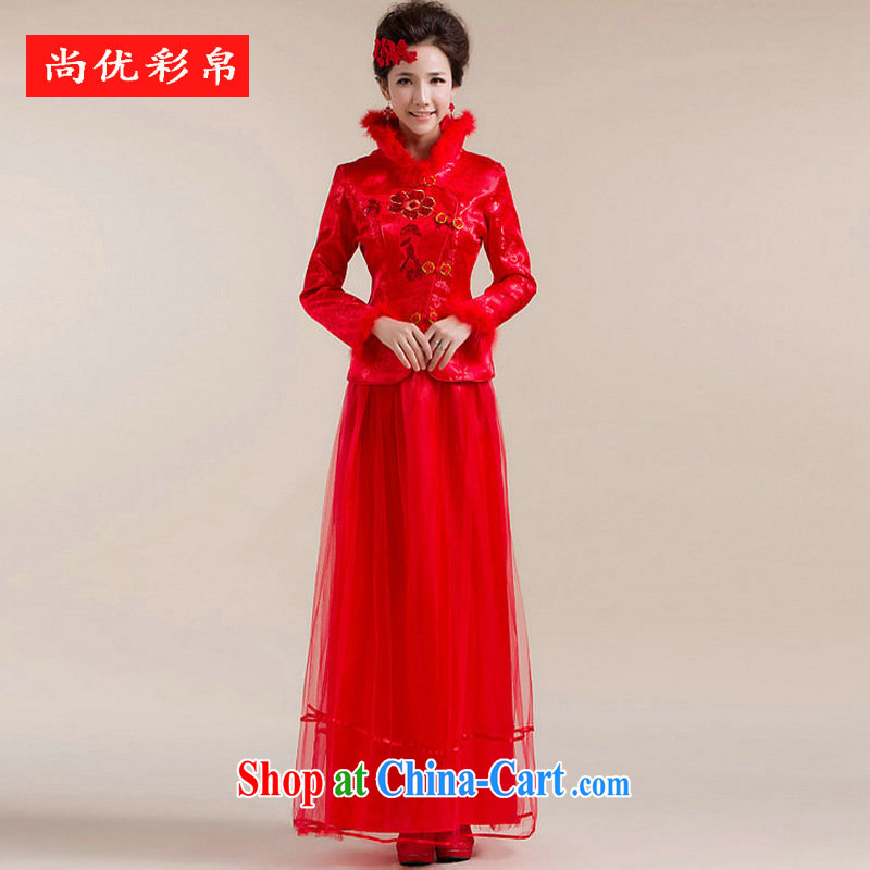 It is also optimized their swords into plowshares new fluff, for multi-layer gauze drag and drop to chest embroidery flowers Chinese wedding dress XS 7148 red XXL