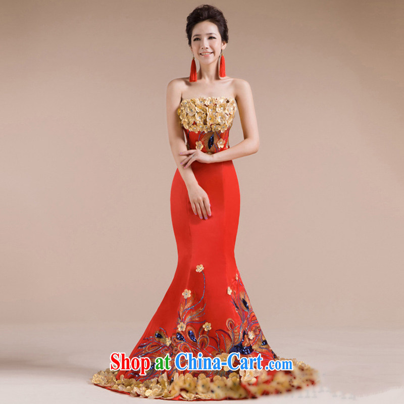 It is also optimized condolence new multiple three-dimensional flowers beautiful Phoenix embroidered luxury and elegant evening dress XS 7142 red XXL