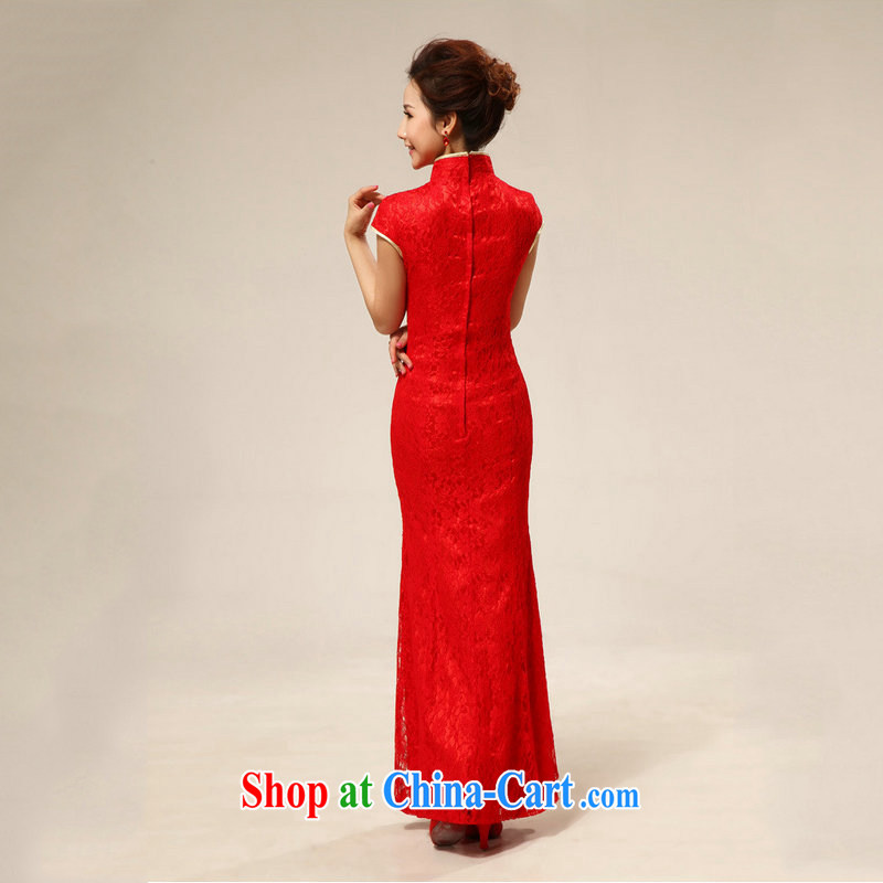 There are optimized color Kingfisher red retro lace bridal wedding dresses bows dress XS 7128 red XXL