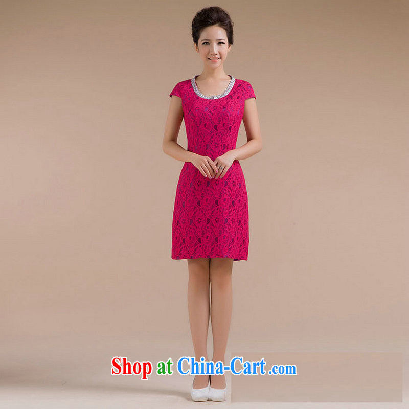 It is also optimized condolence new stylish round-collar body floral decor is simple and cultivating small dress XS 7123 red XXL
