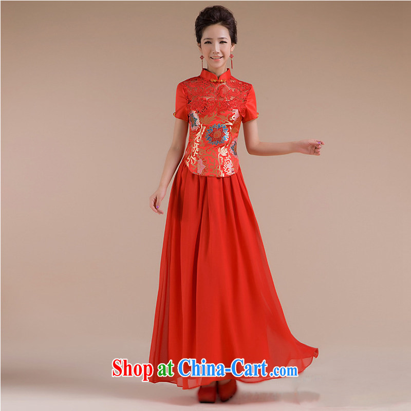 It is also optimized condolence new short and cultivating beautiful floral gauze long skirt dress XS 7109 red XXL