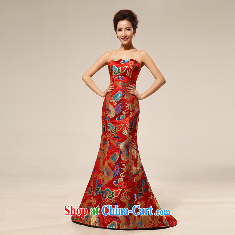 It is also optimized condolence new dragon robe dress marriages long dress XS 7107 red XXL