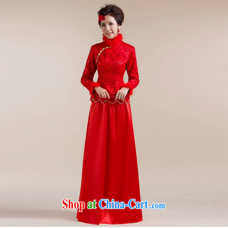 It is also optimized condolence new Gross Gross for cuff dot decoration aliasing, with drag and drop to dress Chinese wedding dress XS 7098 red XXL