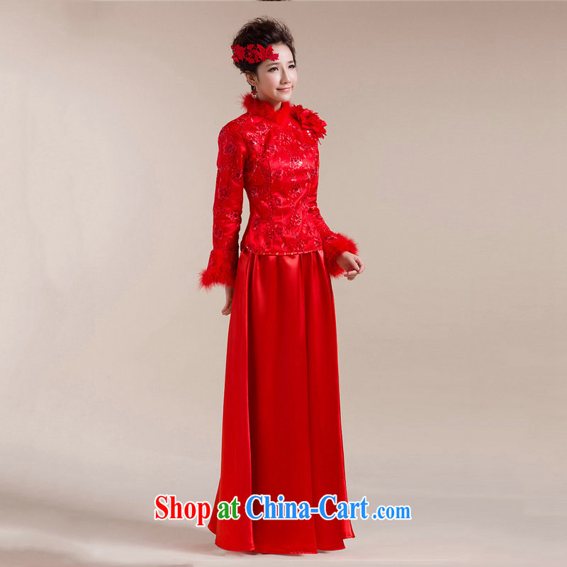 It is also optimized condolence new Gross Gross for single cuff shoulder with flowers long skirt with drag and drop Chinese wedding dress XS 7094 red XXL