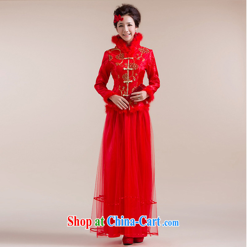 It is also optimized condolence new fluff high collar Chinese coin-thin layer dress Chinese wedding dress XS 7093 red XXL