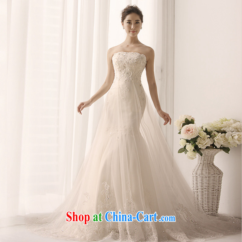 2015 new MTF Princess Mary Magdalene chest wedding tied with satin lace long-tail crowsfoot parquet drill retro Korean wedding s 1389 tail 100 173 cm - M