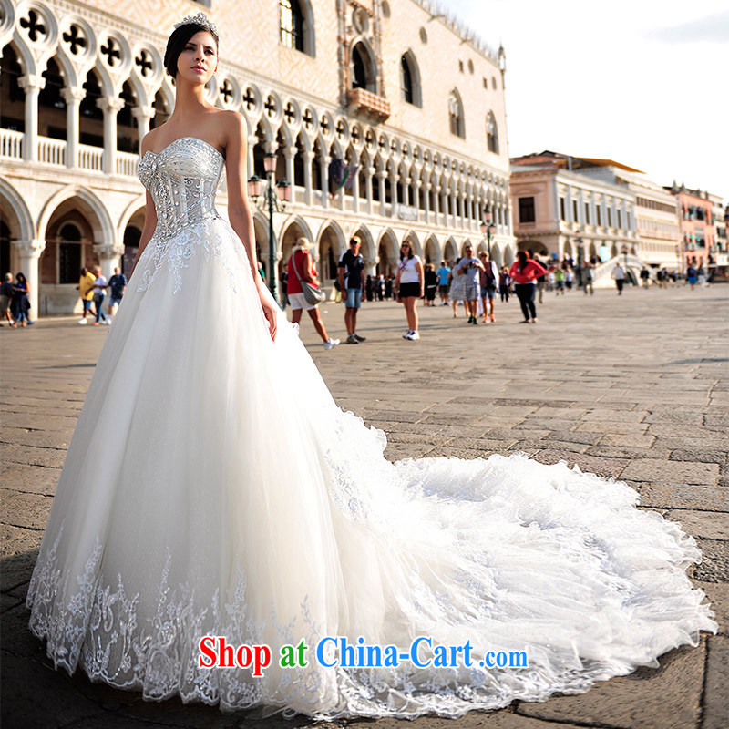 Garden 2015 new Korean sexy bare chest plain manual water drilling wedding dresses S 21,446 80 CM tail 173 - M