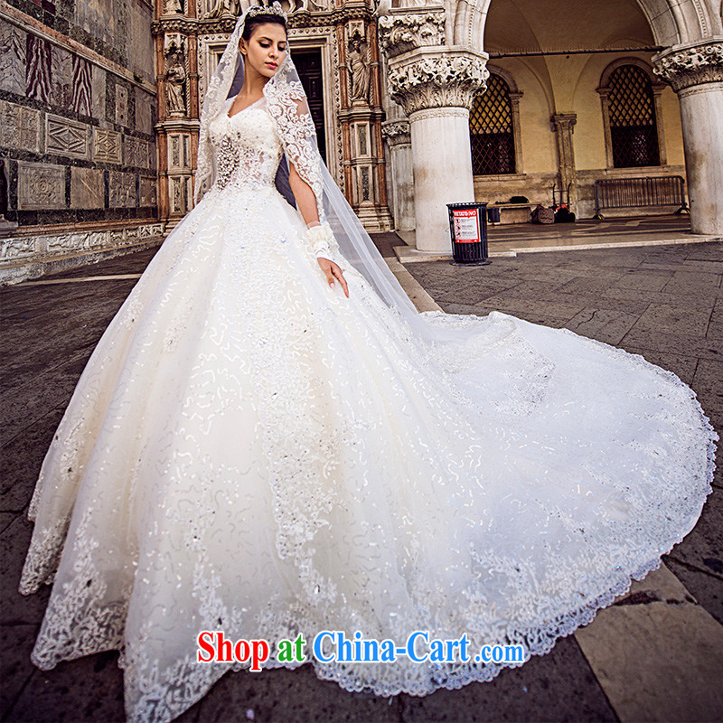 full court-fang 2015 Venice new wedding dresses s 21,442 parquet drill shoulder wiped chest luxury tail shaggy tail 150 173 cm - M
