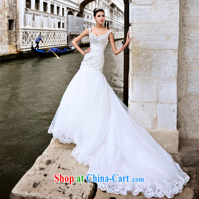 Garden 2015 Venice new wedding dresses s 21,431 shoulder-tail crowsfoot parquet drilling bridal wedding 80 CM tail 173 - M