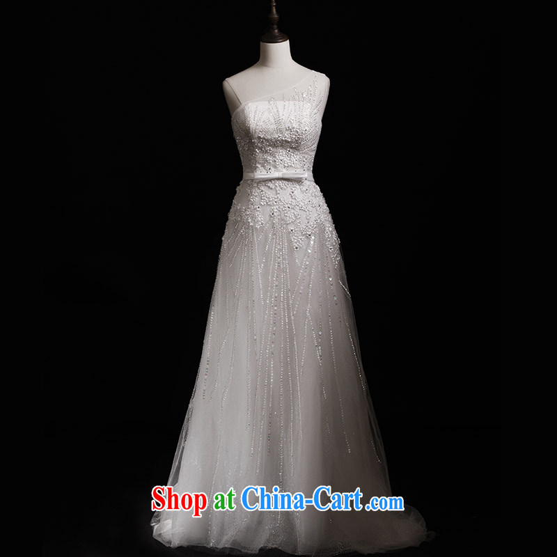 Garden 2015 new wedding dresses s 21,428 single shoulder A with parquet drill lace trailing bridal wedding tail 30 CM 173 - M