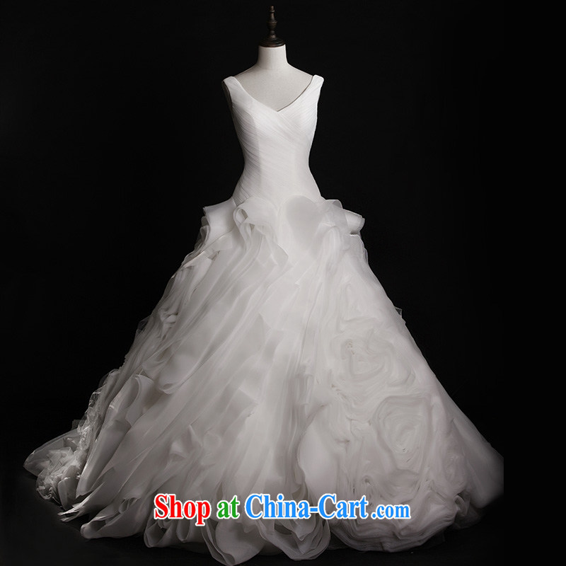 Garden 2015 new brides white wedding dresses S 21,426 shoulder V mighty tail custom luxury 80 CM tail 173 - M