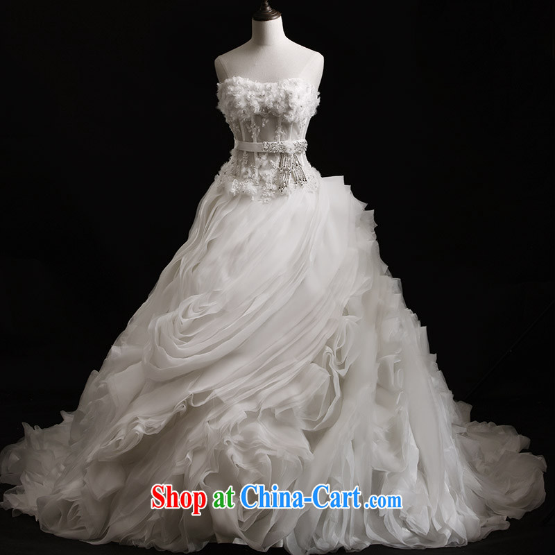 Garden 2015 new bridal wedding dresses S 21,436 erase chest tail shaggy wood drill custom bridal wedding 80 CM tail 173 - M