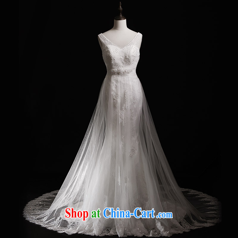 Full court, 2015 new shoulder strap wipe chest lace white bridal wedding S 21,430 crowsfoot tail wedding dresses-tail 100 173 cm - M