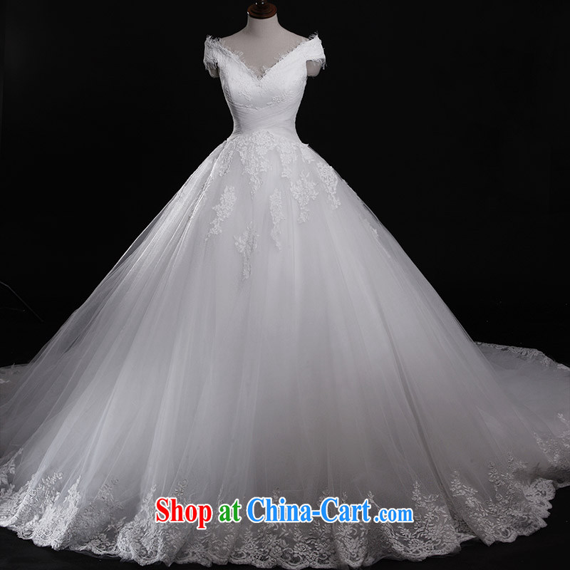 Full court, 2015 new bridal wedding dresses s 21,439 word V shoulder collar shoulder shaggy tail wedding tail 100 173 cm - M