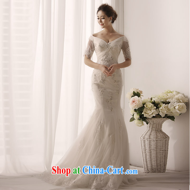 Garden 2015 new wedding dresses sexy V cuff tie a shoulder at Merlion with tail wedding s 1397 tail 50 CM 173 - XL