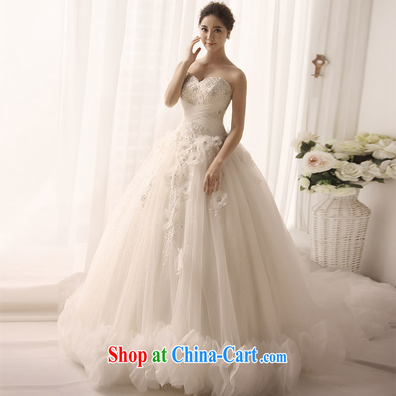 Garden 2015 new wedding dresses bare chest heart chest cloud decorated bridal wedding flower manually S 1381 tail 60 CM tailored