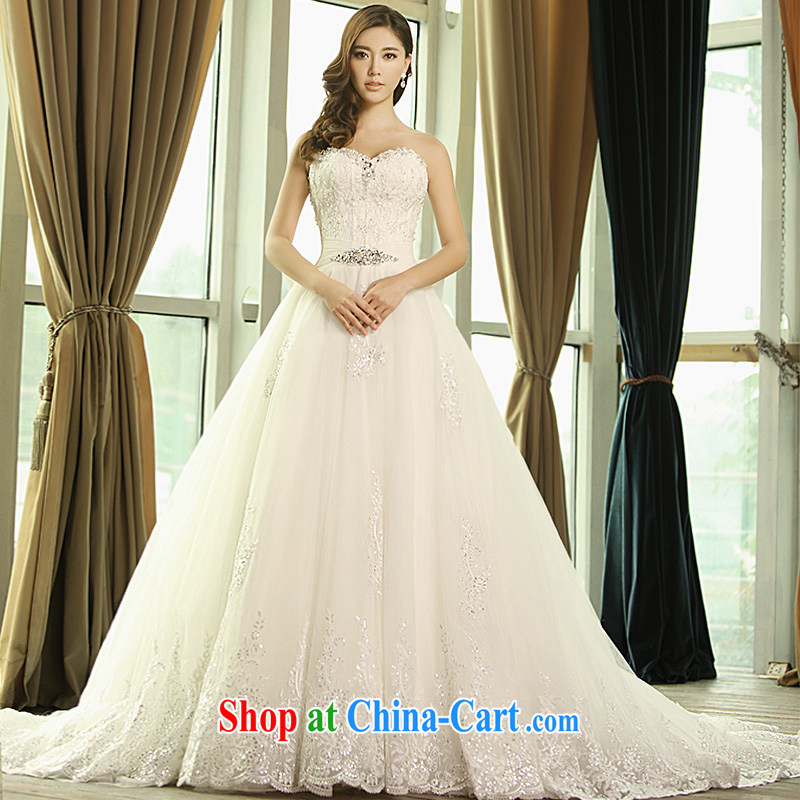 Garden 2015 new wedding dresses 1342 S erase chest lace V for long-tail winter bridal wedding tail 100 CM tailored
