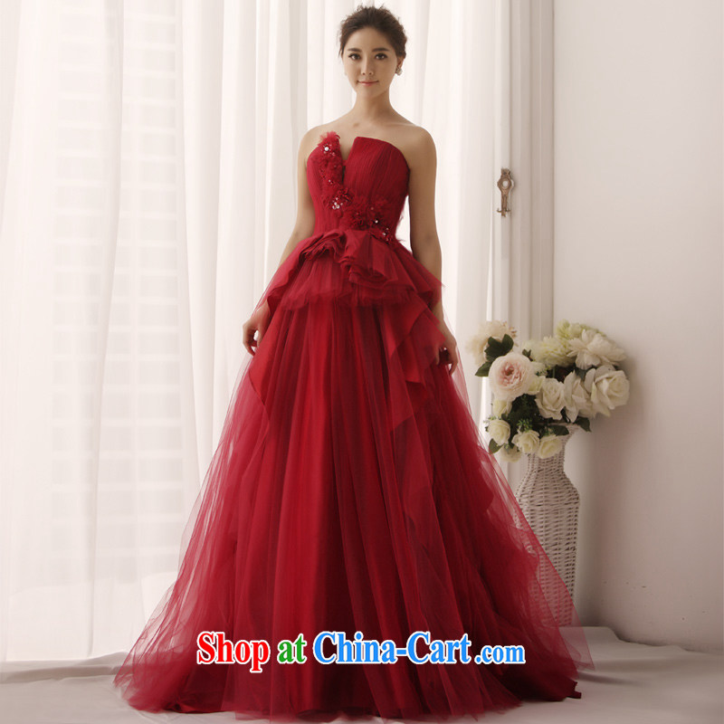 2015 New Red wedding Mary Magdalene wrong chest chest shaggy bridal wedding tail wedding S 1345 wine red tailored