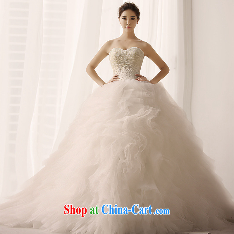 Full Court Who Won The Hong Kong Wind Bridal Wedding Dresses Bare Chest Shaggy Long Tail