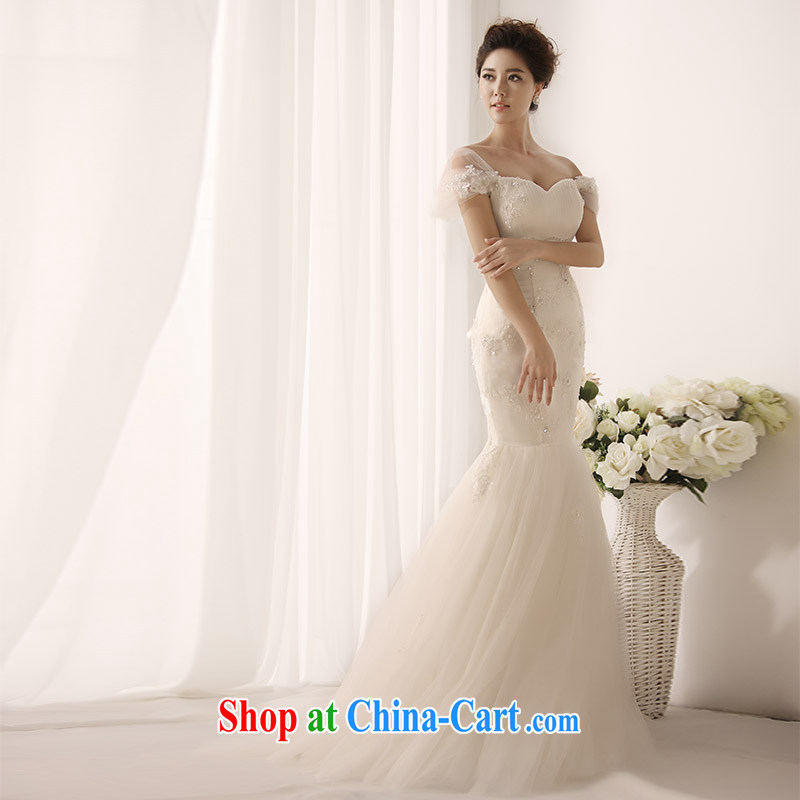 Garden 2015 new wedding dresses only a shoulder-tie V tail crowsfoot wedding s 1396 tail 30 CM 173 - M