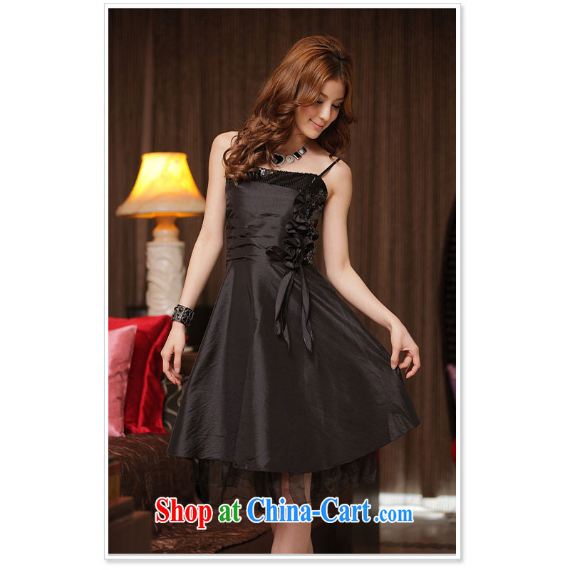 Very late spring and summer beautiful manually the flower dress dress black XXXL