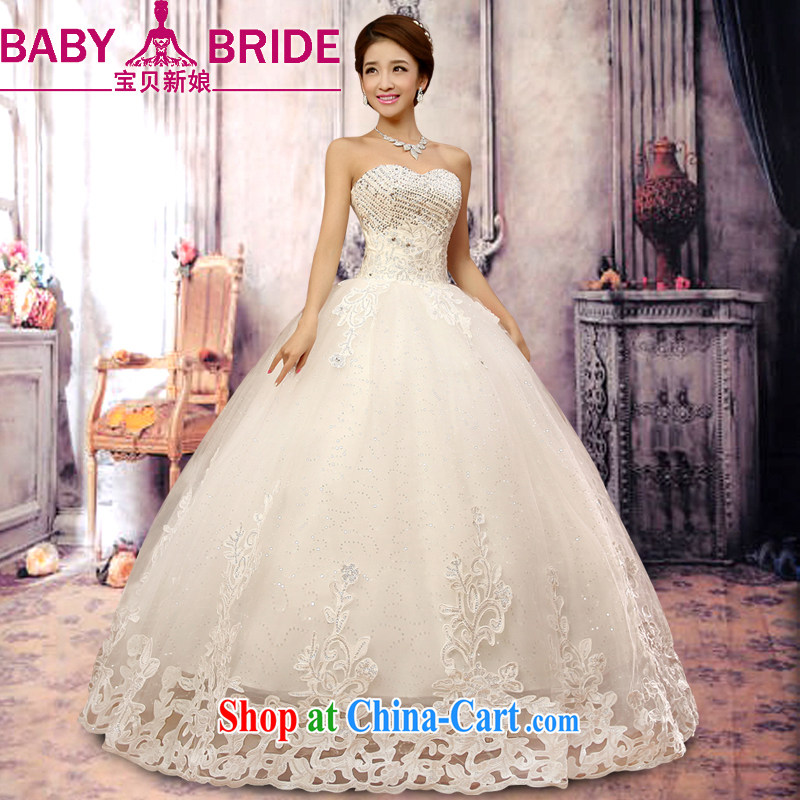 Baby bridal wedding dresses 2014 New Luxury Water drilling Korean Princess Mary Magdalene chest strap wedding winter Korean wedding white XXL