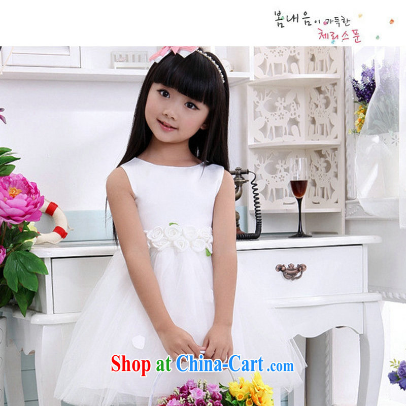 Optimize Hung-new children's wedding dresses Princess dress flower dress shaggy skirts dresses XS 8046 white 10 yards