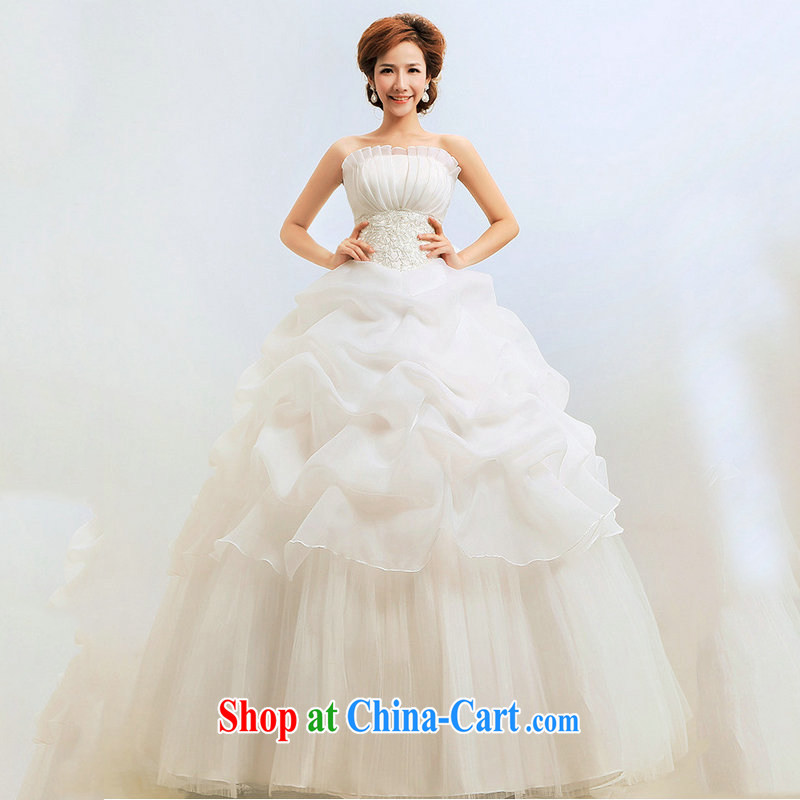 Optimize video Korean version of the new, wipe his chest to Princess graphics thin shaggy wedding dresses XS 8055 m White XXL