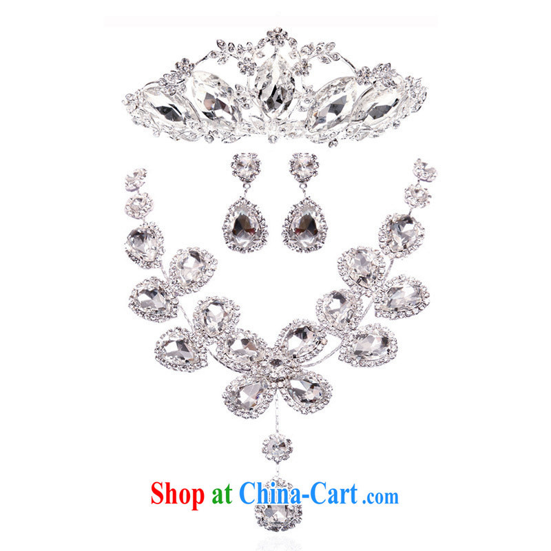 The bridal crystal necklace Korean chain jewelry set wedding links wedding dresses accessories 3 piece set