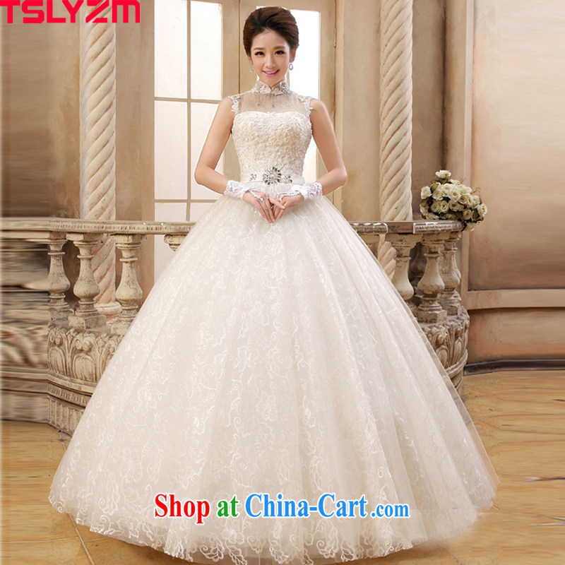 2015 Tslyzm new bride is also wedding dresses lace Korean Korean-style strap graphics thin antique palace, with wedding dress white XXL