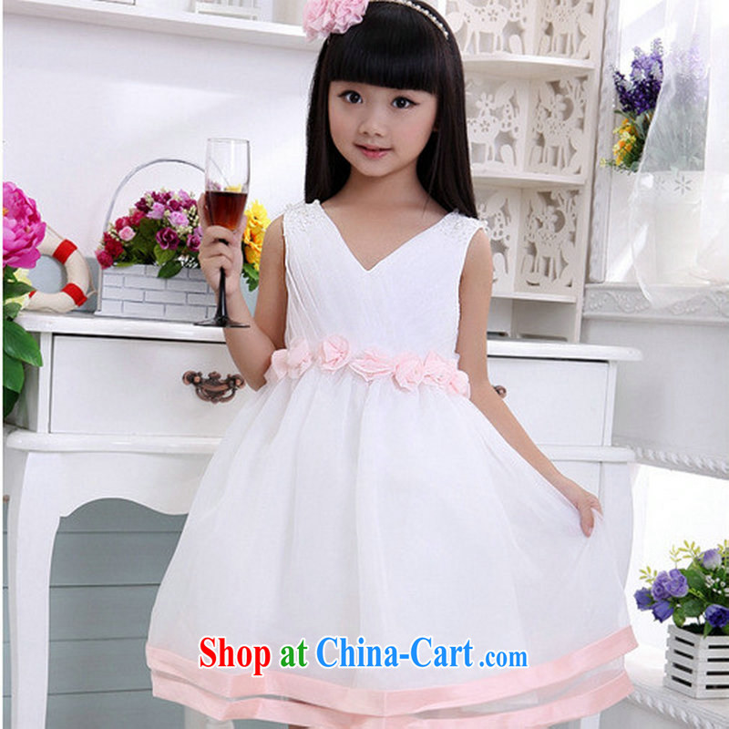 Optimize Hung-new children's wedding dresses children's entertainment show service birthday with XS 8047 white 10 yards