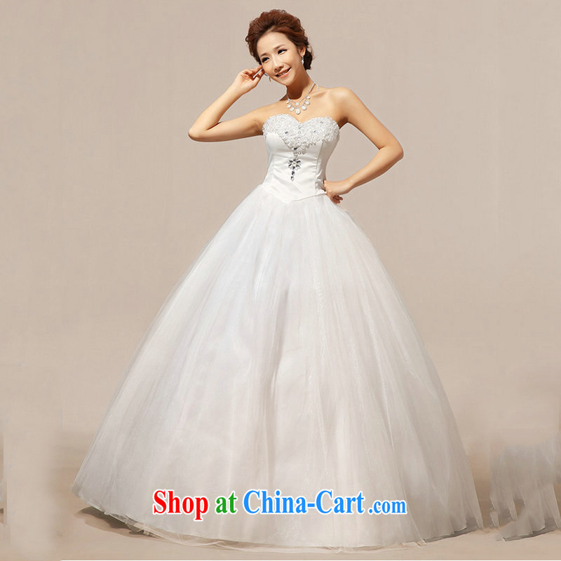 Optimize Hong new erase chest Korean lace crystal inserts drill shaggy wedding dresses XS 8060 m White XXL