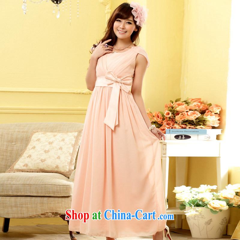 Light (at the end QIAN MO dinner appointment light shoulder thin waist long dress dresses pink XXXL