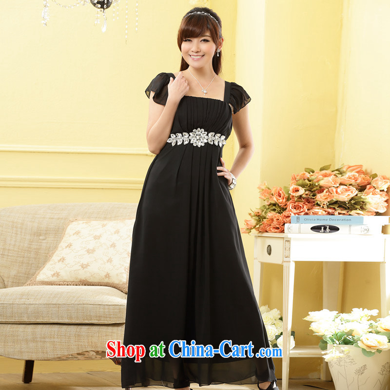 Shallow end (QIAN MO) high quality custom fine diamond link-back light shoulder cuff noble long version dress dress black XXXL