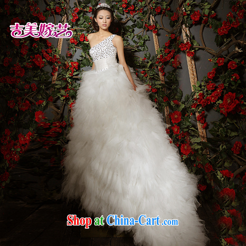 Vladimir Putin, and the wedding dresses Jimmy married arts 2015 new single shoulder Korean Princess dress with tail 532 bridal wedding dresses with long XXXL
