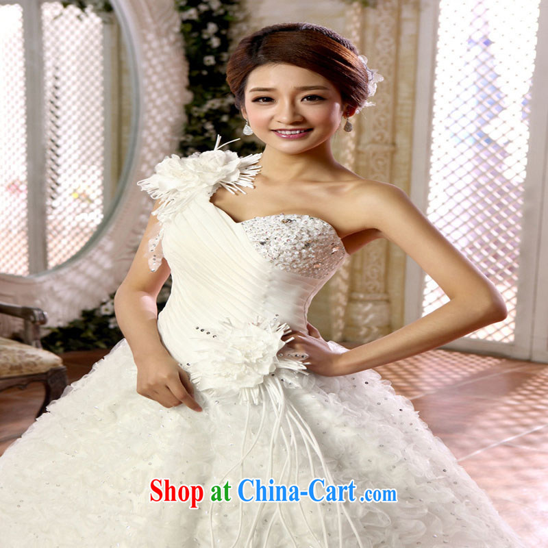 Optimize Hung-new Korean-style single shoulder bridal flowers shaggy dress with wedding dresses XS 8053 m White XXXL