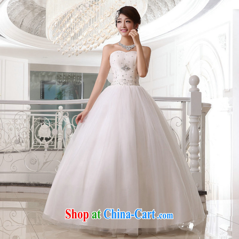 Taiwan's population 2014 Korean-style wedding dresses bridal erase chest flash strap wedding XS 19,177 white XXL