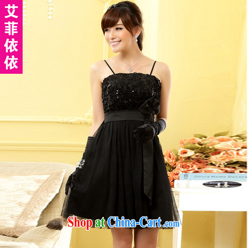 The Parting sweet Mary Magdalene sisters chest skirt 2015 Korean version of the new, short wedding banquet hosted bridal bridesmaid over the waist wedding dresses small 496?black XXXL code
