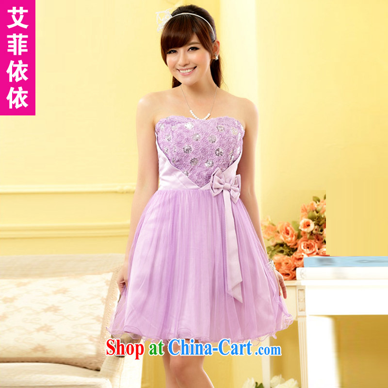 The heartrending rose Princess Mary Magdalene chest small dress 2015 Korean version the short wedding banquet bridal bridesmaid sister cutest wedding dress 4962 purple XXXL code