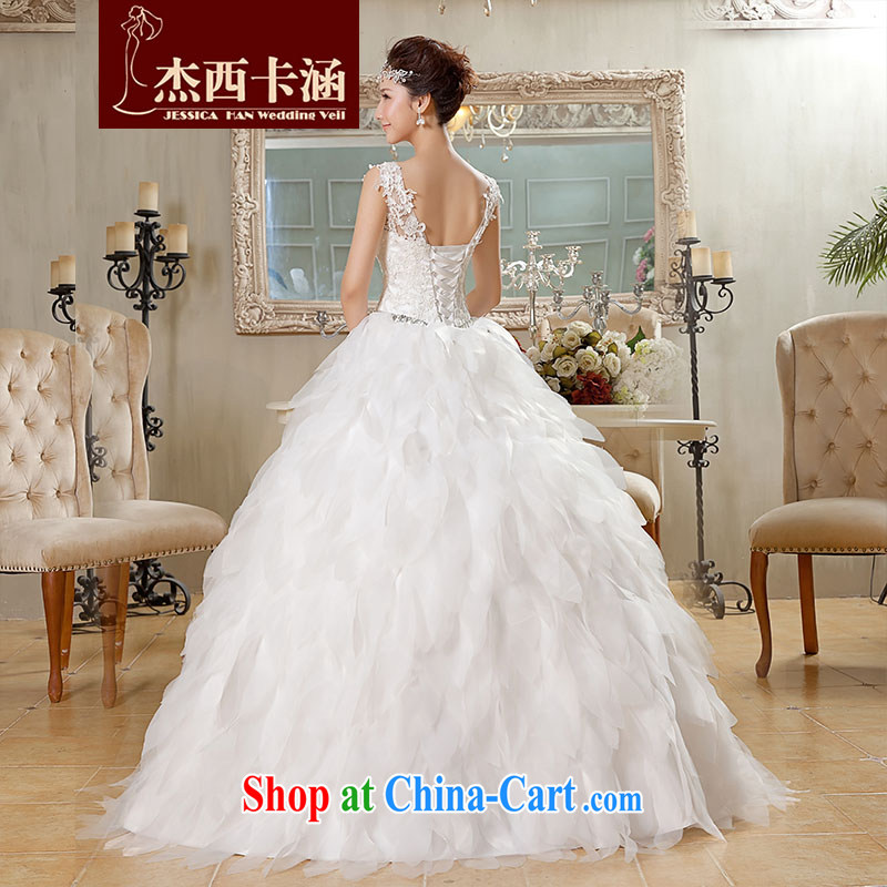 Jessica covers wedding new 2014 white Korean-style with dual shoulder strap V-neck feather wedding 2062 m White XL, Jessica (jessica han), and on-line shopping